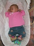 Snoozin' in my hippie jeans @ 4 months